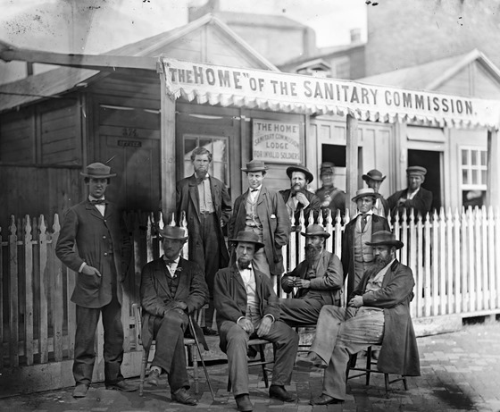 June Washington, D.C. Group of Sanitary Commission workers at the entrance of the Home Lodge