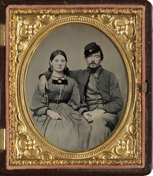 Private Edward A. Cary of Company I, 44th Virginia Infantry Regiment, in uniform and his sister, Emma J. Garland née Cary