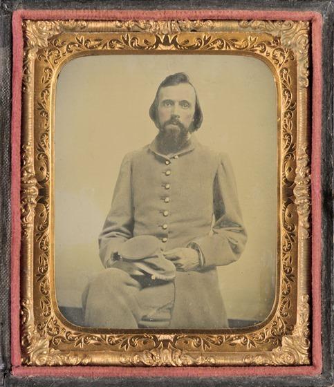 Unidentified private in Confederate uniform in frame