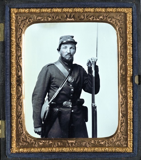 Unidentified soldier in Company H, Vermont uniform with bayoneted musket - edited and  framed