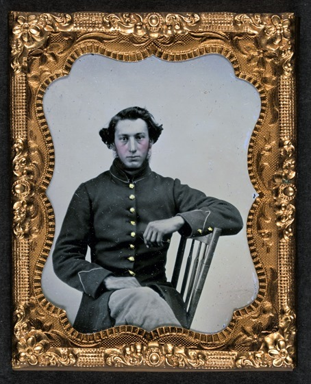 Unidentified soldier in Union frock coat in frame