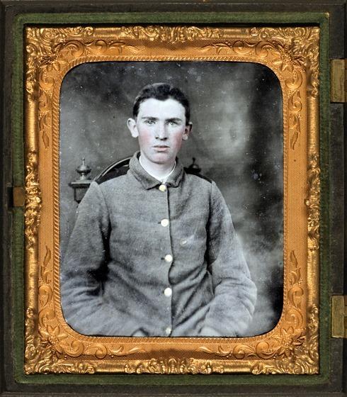 Private W.T. Harbison of Company B, 11th North Carolina Infantry Regiment in photo case