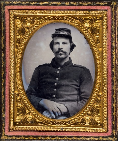 Unidentified soldier in Union uniform and forage cap -- framed