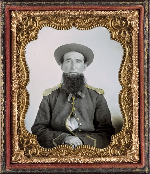 Unidentified soldier with full beard in Union non-regulation uniform in photo case