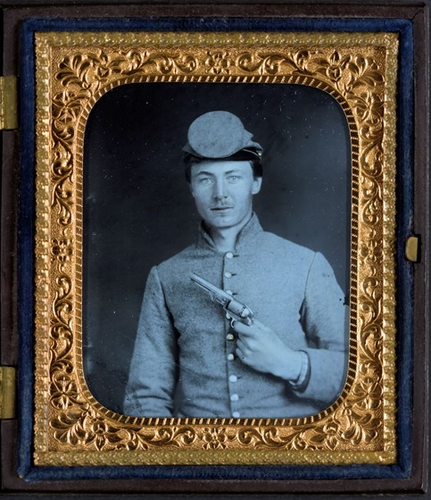 Private Peter Jones of 12th Virginia Infantry Regiment, with pistol -- in frame