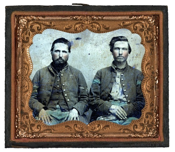 Two unidentified soldiers in Union uniforms -- in frame
