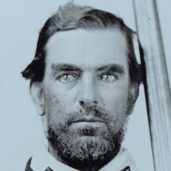 Close-up crop of Unidentified soldier in Confederate quantrillian battleshirt