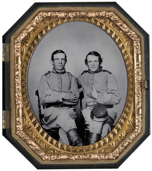 Private Reggie T. Wingfield and Private Hamden T. Flay in Confederate uniforms -- in frame