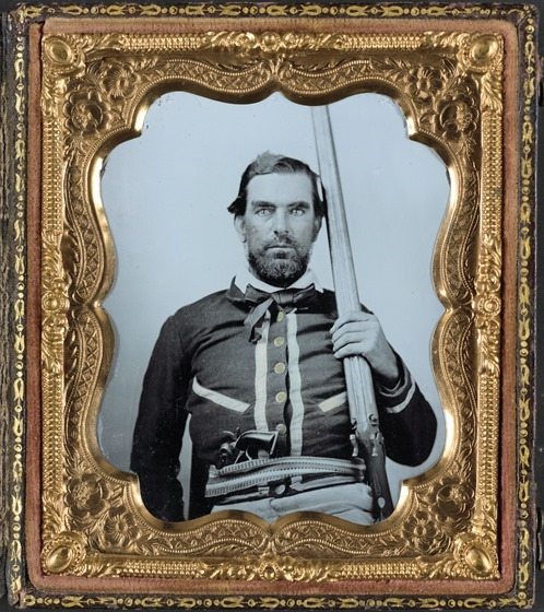 Unidentified soldier in Confederate quantrillian battleshirt-in frame