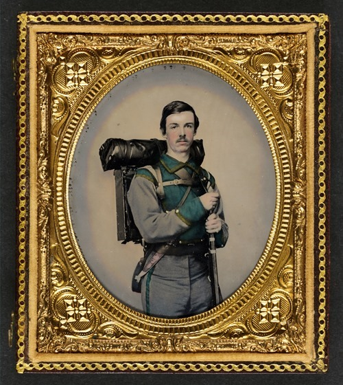 Unidentified soldier in Confederate uniform of Company E, Lynchburg Rifles -- in frame