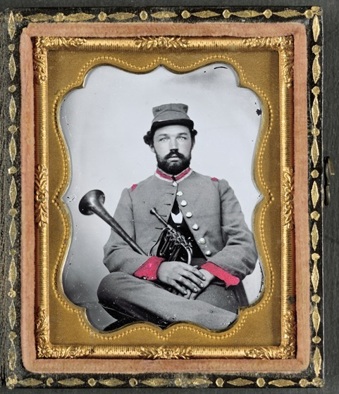 Unidentified soldier in Confederate uniform with saxhorn-- in frame