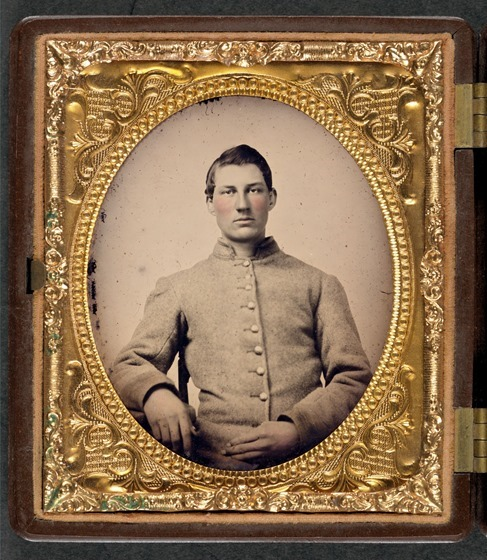 Unidentified soldier in Confederate uniform__ in frame