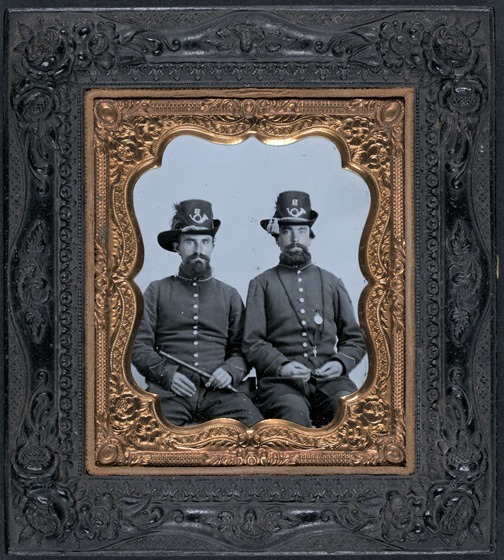 Unidentified soldiers in Union uniforms and infantry Company B Hardee hats -- in frame