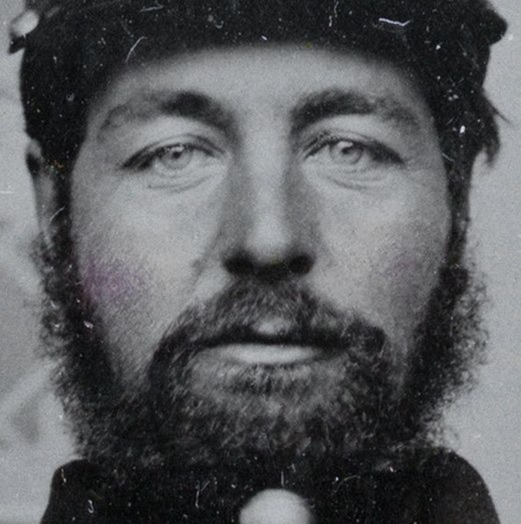 close-up crop -- Unidentified soldier in Union uniform with canteen