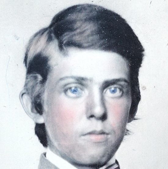 close-up crop -- Unidentified young soldier in Confederate private's uniform