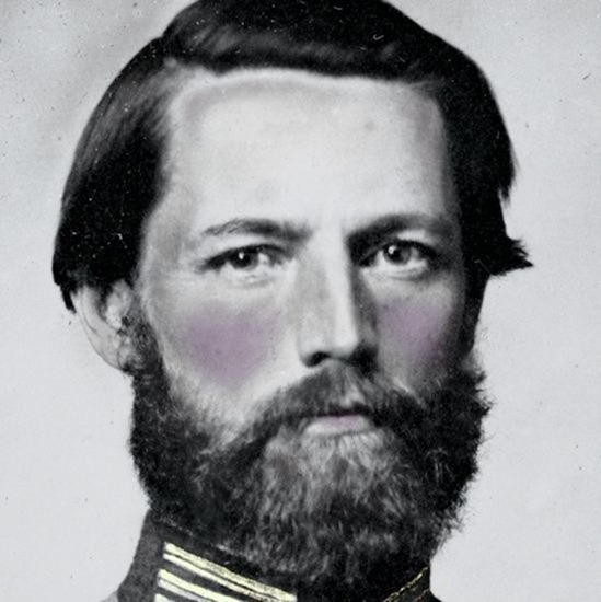 close-up crop of Captain William W. Cosby of H Company, 2nd Virginia Light Artillery Regiment in uniform
