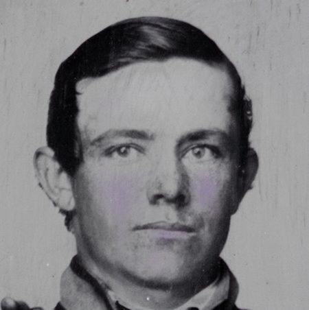 closeup crop 1 -- Private Reggie T. Wingfield and Private Hamden T. Flay in Confederate uniforms